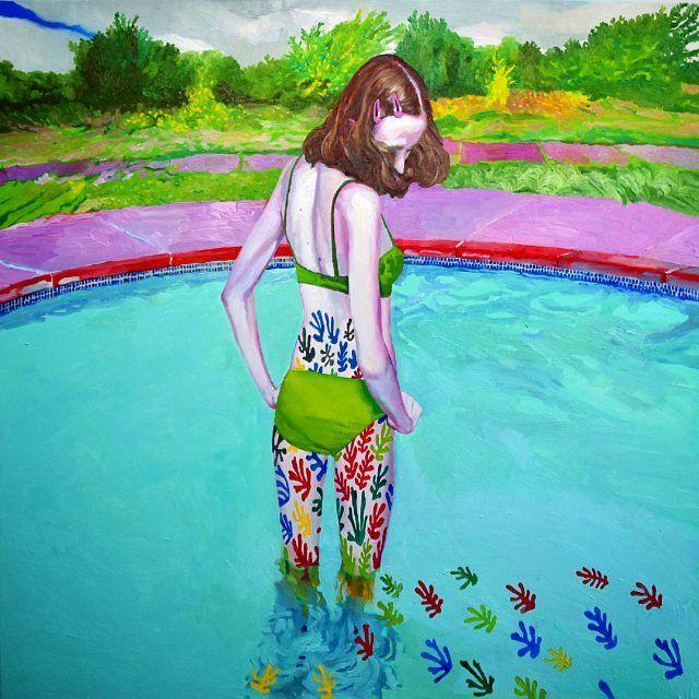 "image: ""Pool 1"" #xevisola #swimmingpool #matisse #colorful #portrait #oilpainting #bikini by xevisola"