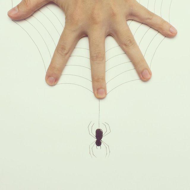image: Human spider web 🖐🏻🕸🕷 #spider #sketch by javierperezart