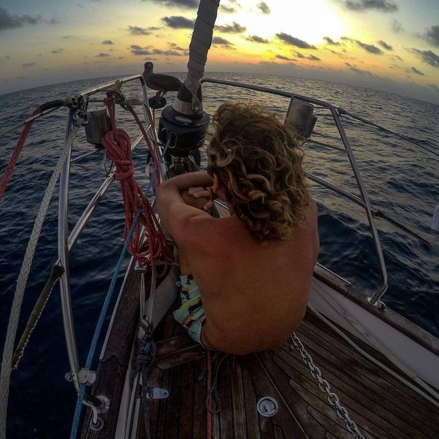 image: After 5 days and 20 hours we  landed in Galapagos. The time we spent in the Ocean was amazing.I can't find the word to describe the feelings when all around you there is nothing else than water and you are sailing into the sun and what you can hear is... by sailing_boats