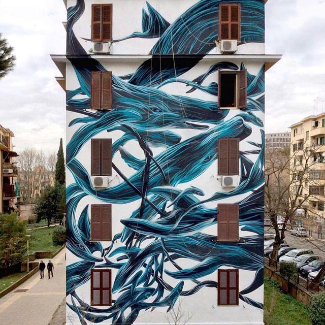 image: @pantonio.o wall in Rome, Italy ?? (2018)•#pantonio #urbanart #streetart #painting #streetartofficial #contemporaryart #rome #italy by streetart_official