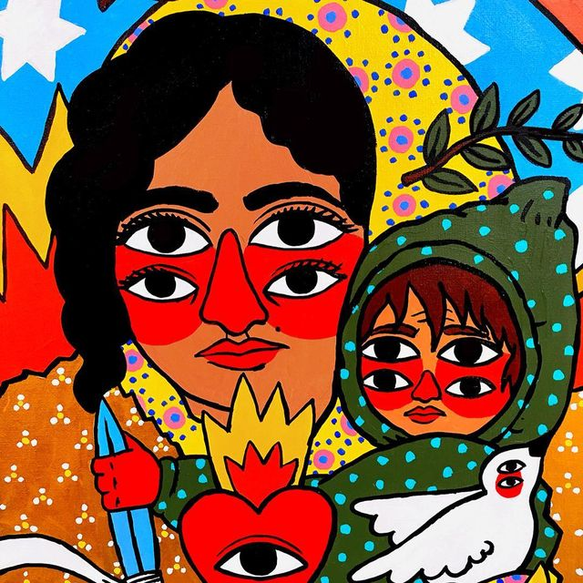 image: Mother of Refugees (detail). #ricardocavolo #paint #original #canvas #refugees #art by ricardocavolo1