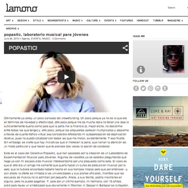 image: Artículo en Lamono Magazine by popastic