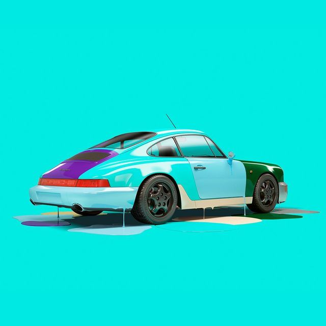 image: More 964 puddles. This time with mint and some ultra violet purple. #porsche964 #dripping #colourpop by chrislabrooy