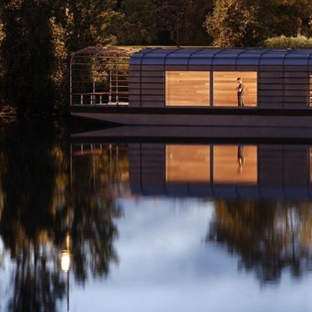 image: The Floating House is a studio for resident artists and authors invited by the Cneai, national contemporary art center for publication. Initiated in 2002 by a public commission and finished in 2006, this habitable barge was realized in collaboration... by bouroullec