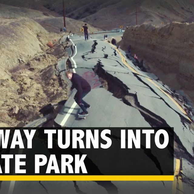 video: Highway Devastated by Landslide Turns into a Skate Park by dr-drake
