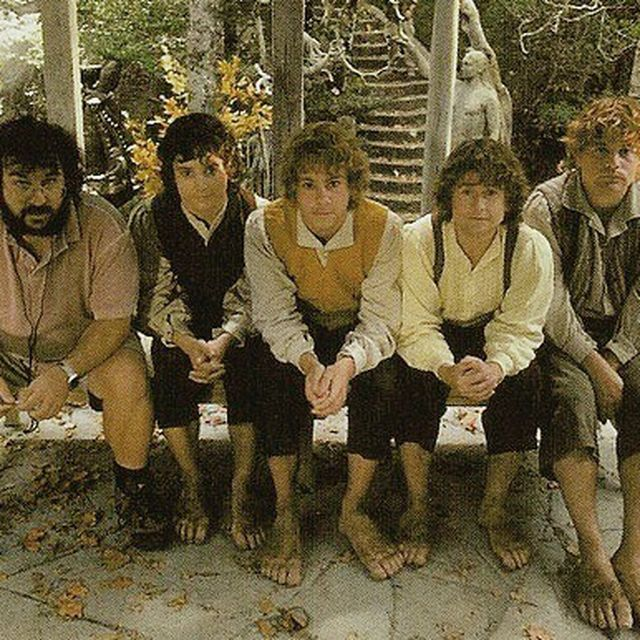 """image: Peter Jackson, Elijah Wood, Dominic Monaghan, Billy Boyd and Sean Astin on the set of """"The Lord of the Rings: The Fellowship of the Ring"""" (2001). by cinemamagic"""