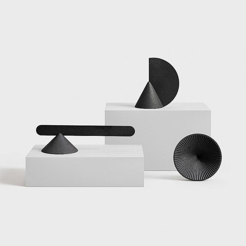 """image: APEX-HALCYON-OCASO X OTHR.@othr__••""""The series consists of candle snuffers in 3D printed steel. These three geometric snuffers each bring a fresh take to a classic form. While the candle snuffers are unique, shapes are repeated throughout so that... by producture"""