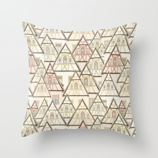 image: Pattern Houses Throw Pillow by Cecilia Sánchez | Soc... by ilustracionescecilia