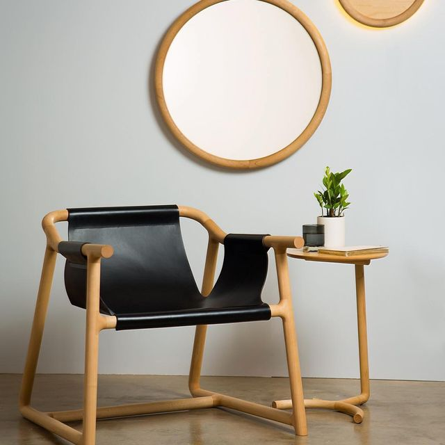 image: Pelle by @nicholas_fuller - Low Chair Designed in 2016. Materials - Canadian Hard Rock Maple with 4mm Double Butt Italian black leather. by product
