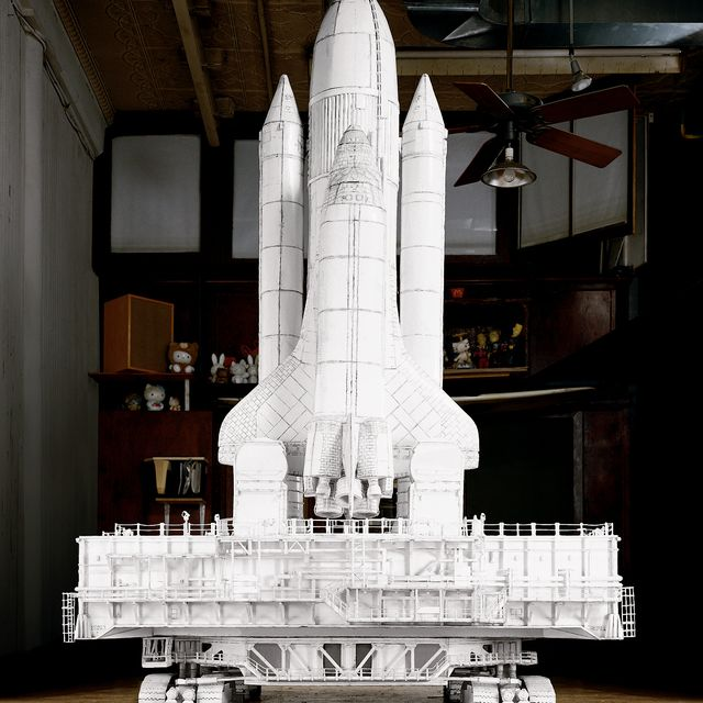 image: Challenger (Crawler),...foamcore, thermal adhesive, wood,...118 H x 103 W x 107.5 D...S/N: 2003...Shuttle (Crawler drawing),...ink on foamcore, con ed...75 H x 57 W...S/N: 2004... by tomsachs