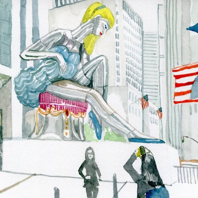 image: Jeff Koons turned out this watercolour sketch as part of a series before his monumental 'Seated Ballerina' plopped down outside Rockefeller Center. by saatchigallery