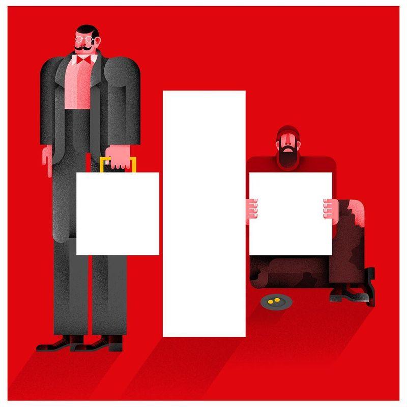 "image: ""Switzerland discovers poverty"", illustration for La Vanguàrdia #mariacorte #illustration by mariacorte"