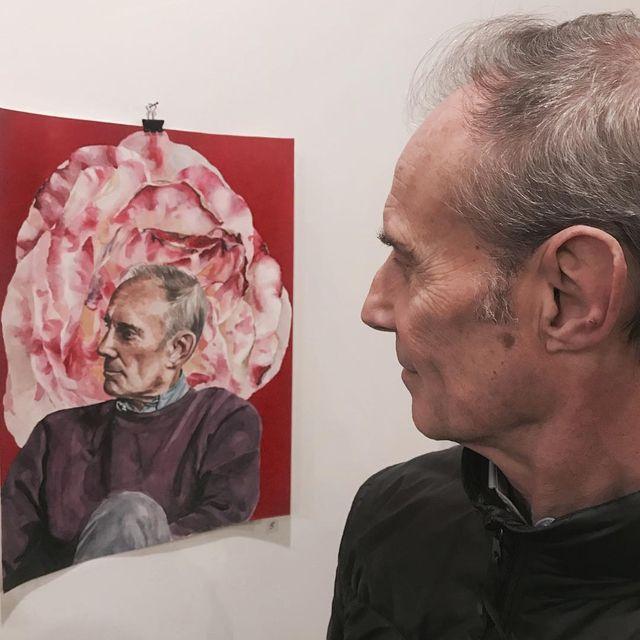 image: El retrato y el retratado @cristiandomecq ? Mi ICONO para la exposición colectiva en @madismad_gallery (Comisaria: @ilustracioncecilia )? #icono #madismad #art #protrait #cristiandomecq #watercolor #mypaintings by lulumai