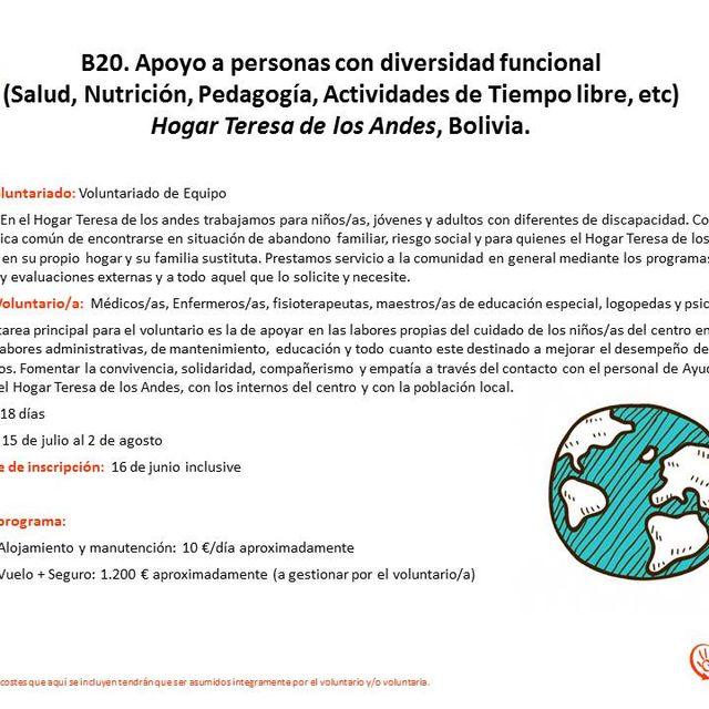 post: Plazas para voluntariado en BOLIVIA EN JULIO by ayudaenaccion