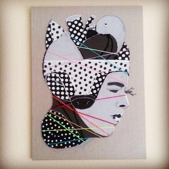 image: *arco iris soga* 81x60 cm / fabric & wool on canvas.... by oscar_sanmiguel