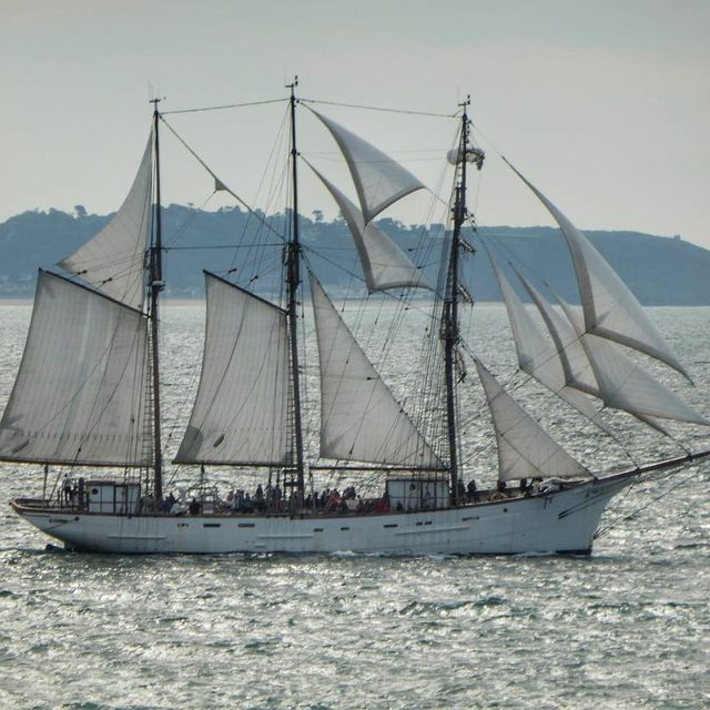 "image: This boat is ""Le Marité"" it's the last french Newfoundland fishing vessel, a beautiful white 3 masted, 46m long with 15 sails ( 650m2 ). ""Le Marité"" is born in France in 1921, in Fécamp - France, and his actual home harbour is Granville in France 🇫🇷.📷... by sailing_boats"