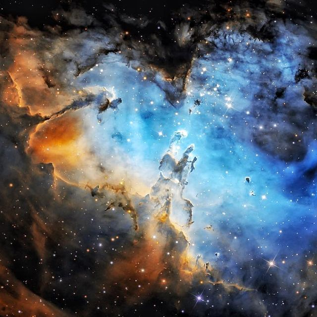 """image: M16 and the Eagle....""""And Jesus said unto them, I am the bread of life: he that cometh to me shall never hunger; and he that believeth on me shall never thirst."""".A star cluster around 2 million years young surrounded by natal clouds of dust and... by thehubblescope"""