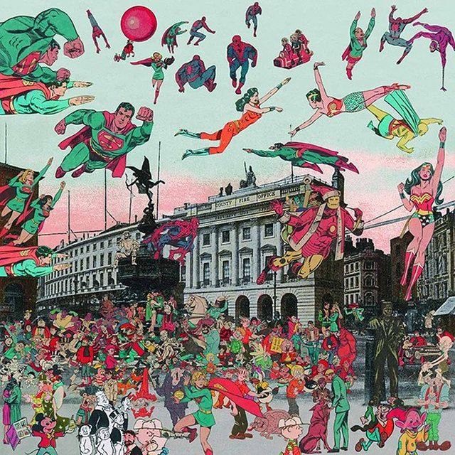 image: 'The Comic Covention Comes to London' in this super chaotic collage by Peter Blake, a headliner of the British Pop movement. by saatchigallery