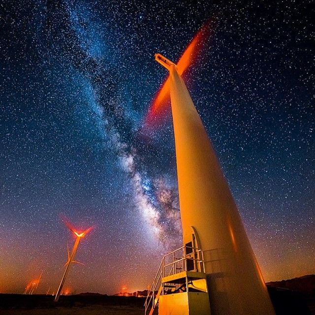 image: The Milky Way over the Ocotillo wind farm in the Anz... by michael_shainblum