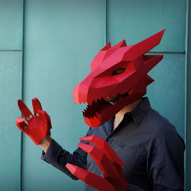 image: New DIY Geometric Halloween Masks by Wintercroft by jenniferasos
