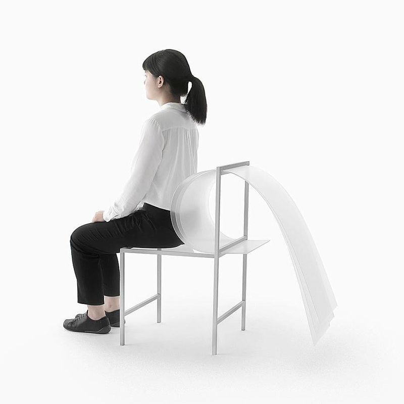 "image: BOUNCY LAYERS  X  Nendo.••""Bouncy Layers Collection has ditched the foam, cotton and springs of conventional comfort-first furniture, instead employing 1.5mm thick polycarbonate sheets. By adjusting the material's bending capabilities through... by producture"