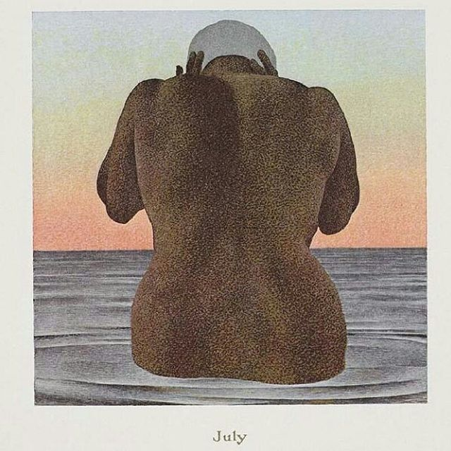 image: Dip coolly into this humid new month with Alex Colville's 'July', finished in 1979 as part of the Canadian artist's Contemporary Realist 'Calendar' series. by saatchigallery