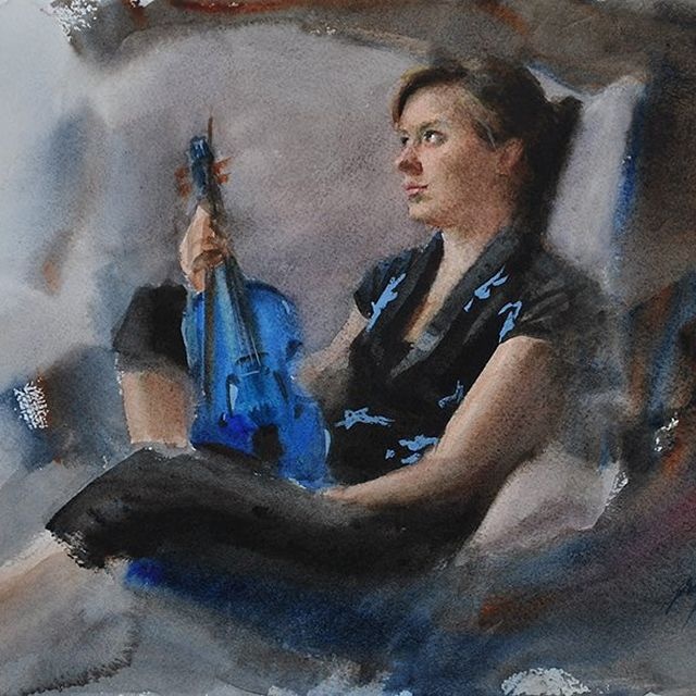image: Watercolour from 2010. 31x23 cm.#watercolor #watercolour #akvarell #konst #art #violinplayer by nickalmart