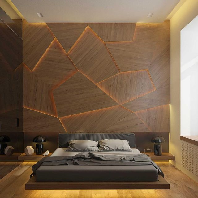 image: Apartment in...by Archiplastica.#p_roduct•#product #light #lighting #wall #bed #bedroom #wood #kiev #ukraine by product