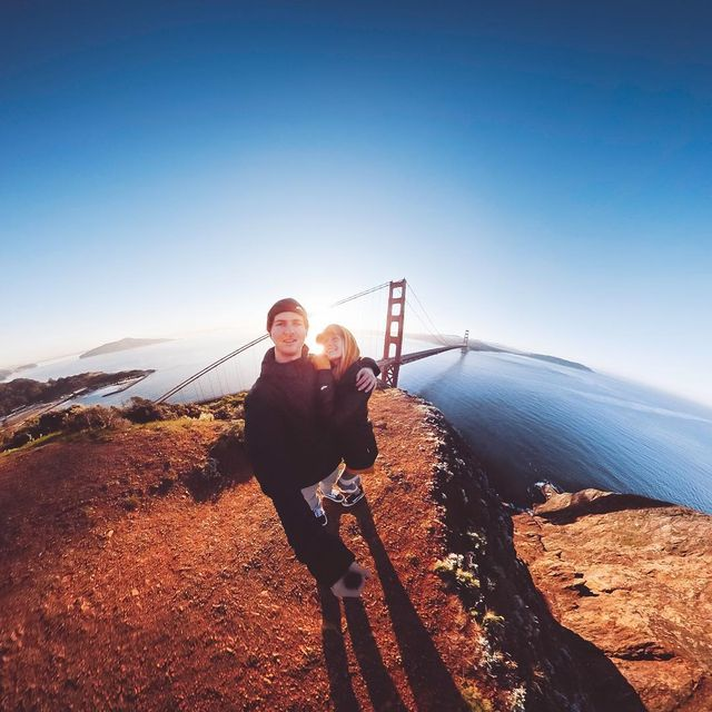 image: Flash back to a sunrise overlooking the Golden Gate Bridge and all of San Francisco ? GoPro Fusion making our viewpoint look like it's our own earth ?—#California #SanFrancisco #GoldenGateBridge #Sunrise by kyleohlson