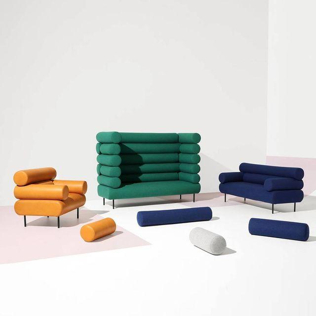 "image: CABIN COLLECTION  X  Design by Them.@designbythem••""The Cabin collection of armchairs, lounges, and booth style structures utilizes a series of upholstered log modules, manipulating geometric forms to create playful and personable pieces for the... by producture"