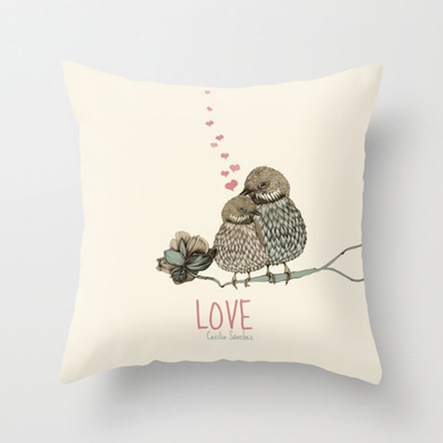 image: LOVE Throw Pillow by Cecilia Sánchez | Society6 by ilustracionescecilia