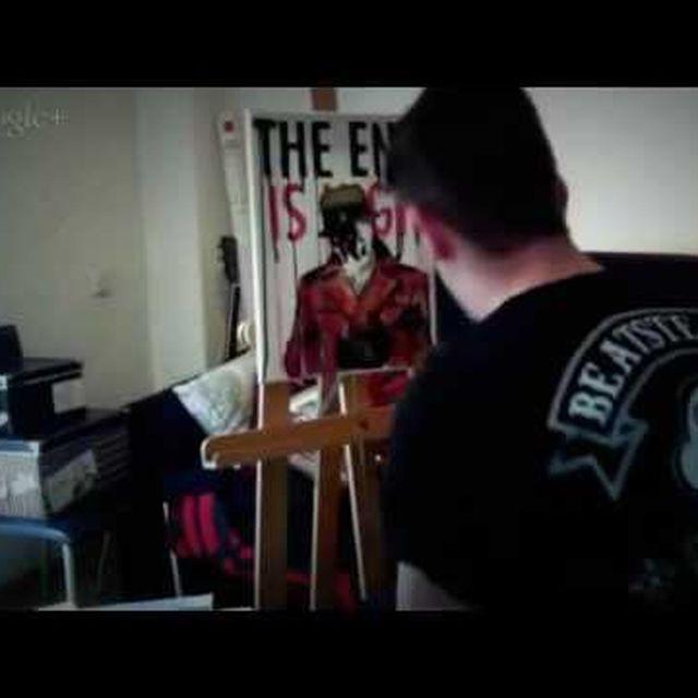 video: Primer lienzo para V Aniversario Gharuda by theartwarriors