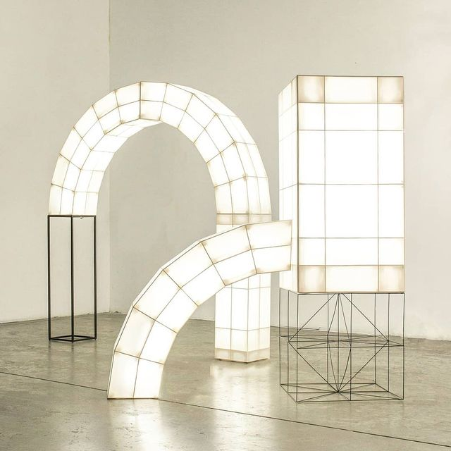 """image: SPACE FRAMES X Studio Mieke Meijer.••""""Dutch designersMieke Meijerand Roy Letterlé based this collection of cubic, tubular lights – called Space Frames – on archetypal architectural elements such as arcs, columns, trusses and plates. Each... by producture"""