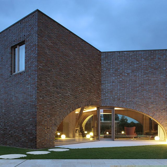 image: triple brick arch house by dryaquamarine