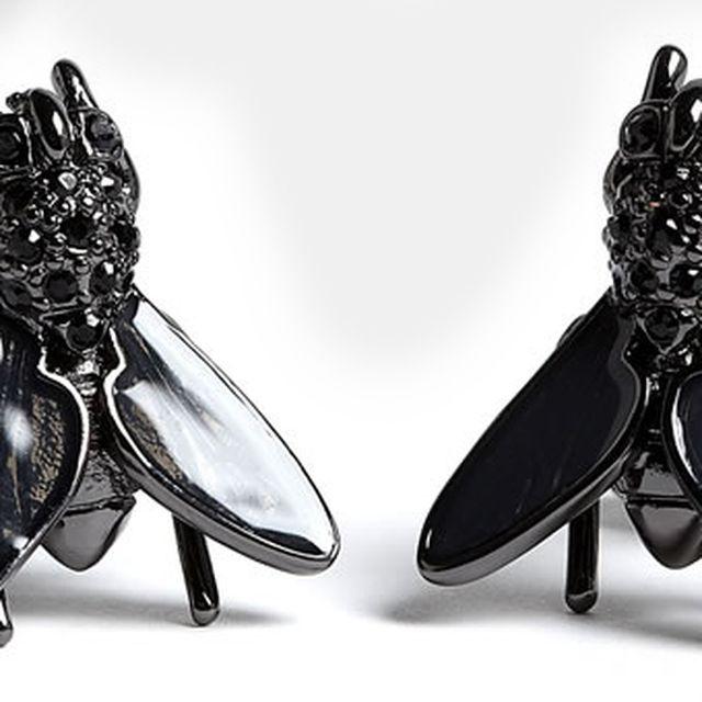 image: BLACK CHROME STONE SET FLY CUFFLINKS by go-johnny