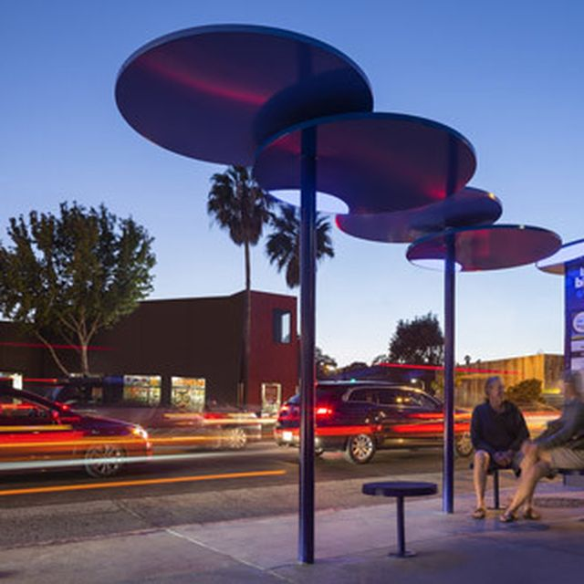 image: LOHA's revamped Santa Monica bus shelters are blue d... by brawnyred