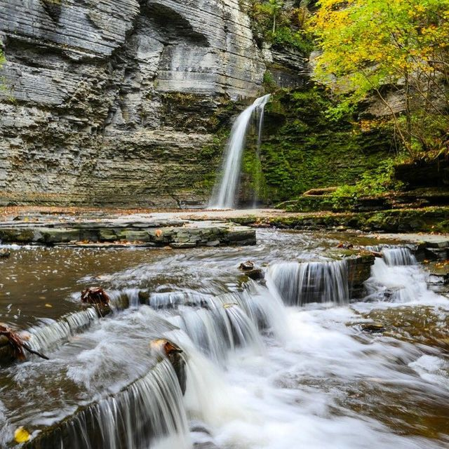 image: The waterfalls in the gorge at Watkins Glen are a major draw in the Finger Lakes region of New York. But this waterfall - Eagle Cliff Falls - is just as pretty yet much less-visited! You'll find it in Havana Glen Park in the town of Montour Falls. It... by dangerousbiz