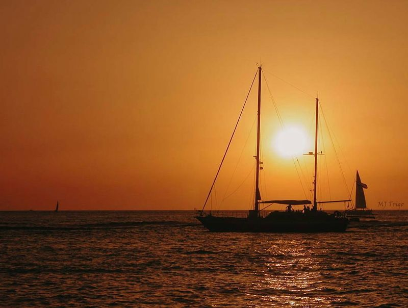 image: A sunset viewing a sailing boat from other sailing boat is always incredible!.? sent to us by @mjtrigo by sailing_boats