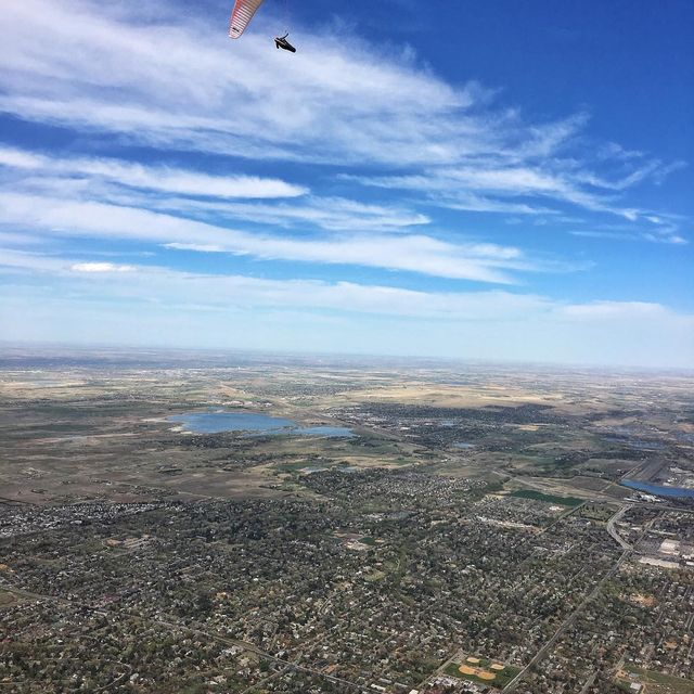 image: About a week ago I broke the Boulder paragliding site distance record, and at the end of a gorgeous 4 hour flight found myself 100kilometers away near the border of Wyoming!  It's not a crazy proud record by modern paragliding standards, but I'm still... by cedarwright