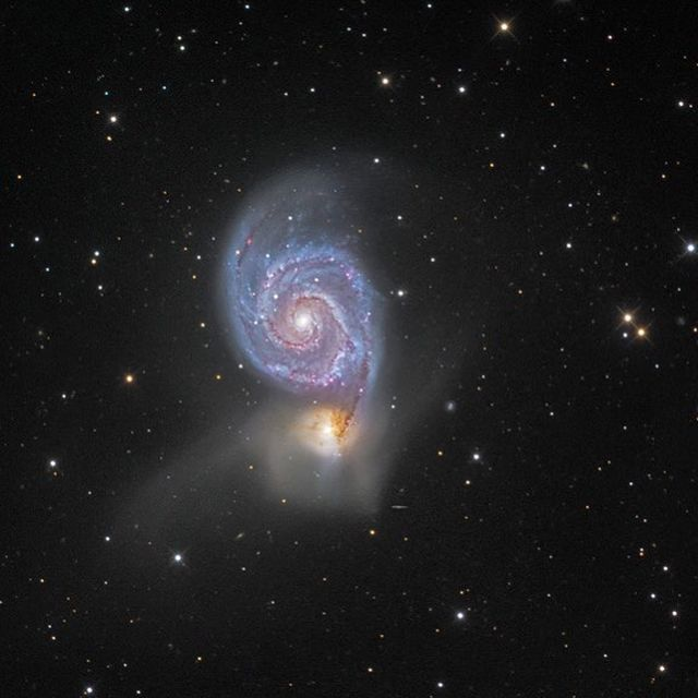 image: Find the Big Dipper and follow the handle away from the dipper's bowl until you get to the last bright star. Then, just slide your telescope a little south and west and you'll come upon this stunning pair of interacting galaxies, the 51st entry in... by astronomypicturesdaily