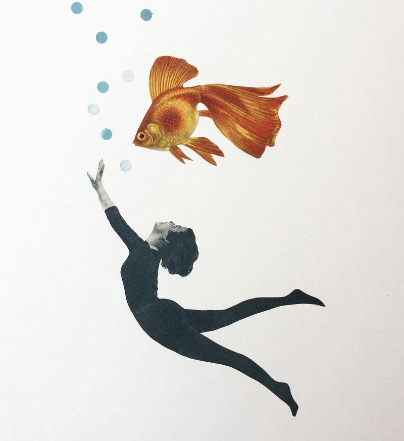 image: Let me dive into your ocean / Analog collage on paper #vintageart #freeyourmind #ocean #cutandpaste #collageart #goldfishlover by vintageart_originals