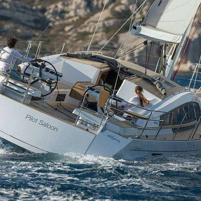 image: Pilot saloon 58 with a beam of 16'Her mast is 22m high and this is the rigging size:Main Sail79 m²Genoa54...Gennaker111 m²Spinnaker A187 m²..? sent to us by @wauquiez_boats by sailing_boats