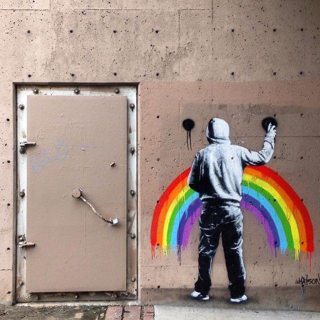 image: Sad Rainbow #sadrainbow #stencilartist #martinwhatson #hideandseek #graffitiart #graffitiartist #streetart #instarainbow #instalove #instamood #instaidentity #instavisual #visualinspiration #visualoptimism #getinspired #ronnydevylder #i💖art by ronnydevylder