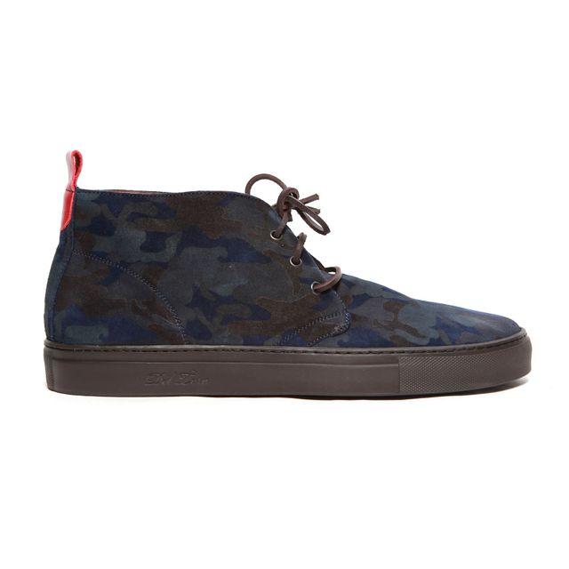 image: Men's Suede Navy Camo Alto Chukka Sneaker by andy-rice