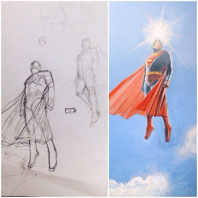 image: sketch & WIP, acrylic on canvas.inspired by Alex Ross by elfan_diary
