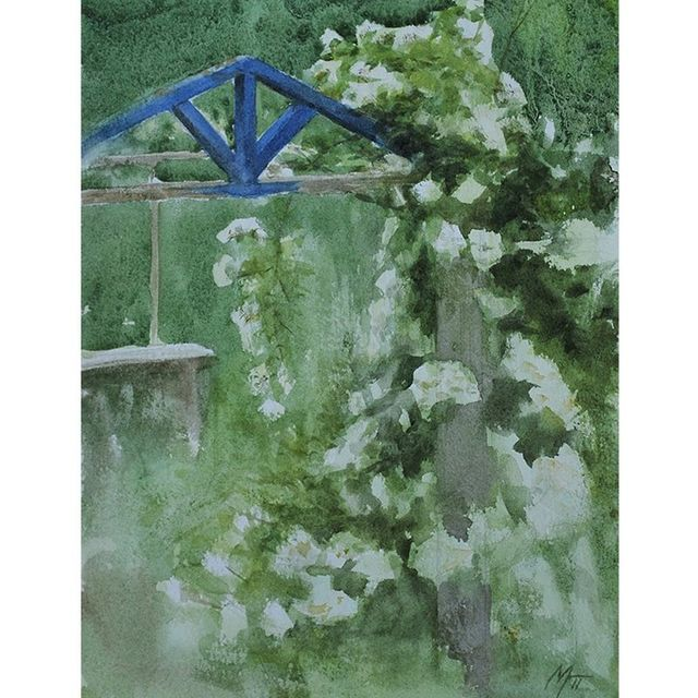 "image: A quick #twilight #painting from 2011. ""Entrance to the garden"". #Watercolour 18x25cm.#akvarell #watercolor by nickalmart"