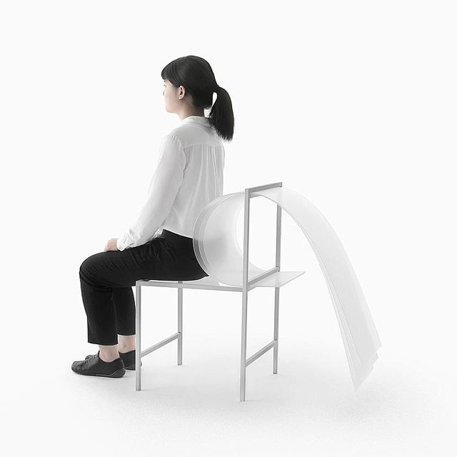 """image: BOUNCY LAYERS X Nendo.••""""Bouncy Layers Collection has ditched the foam, cotton and springs of conventional comfort-first furniture, instead employing 1.5mm thick polycarbonate sheets. By adjusting the material's bending capabilities through... by producture"""