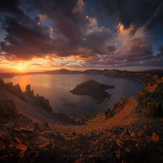 """image: """"Epicenter""""The start of a new day at #CraterLake. by michael_shainblum"""