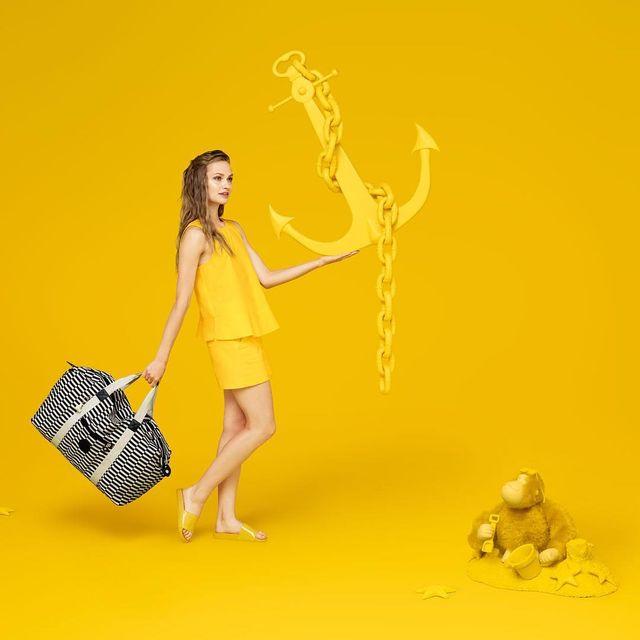 image: For everyone craving the sun, here's some happy yellow from my SS @kiplingglobal campaign ☀️☀️☀️? Photography @aleksandrakingo? Styling @natashakfreeman? Set Design @amy_friend? Make Up @erin_kristensen??Hair @delphine_bonnet? Photo agent @angelawood by aleksandrakingo