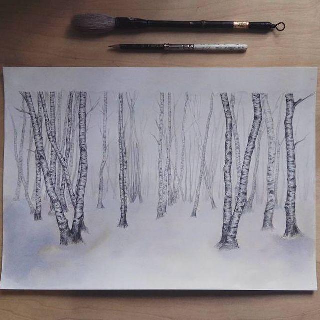 image: ? #wip of the next comission #bosque #forest #cold #frio #snow #winter #vacío #ilustracion #dibujo #art #lapiz #parker #ink #pencil #paper #arte #papel #estudio #desk #studio #artist #comission #elisaancori by elisaancori